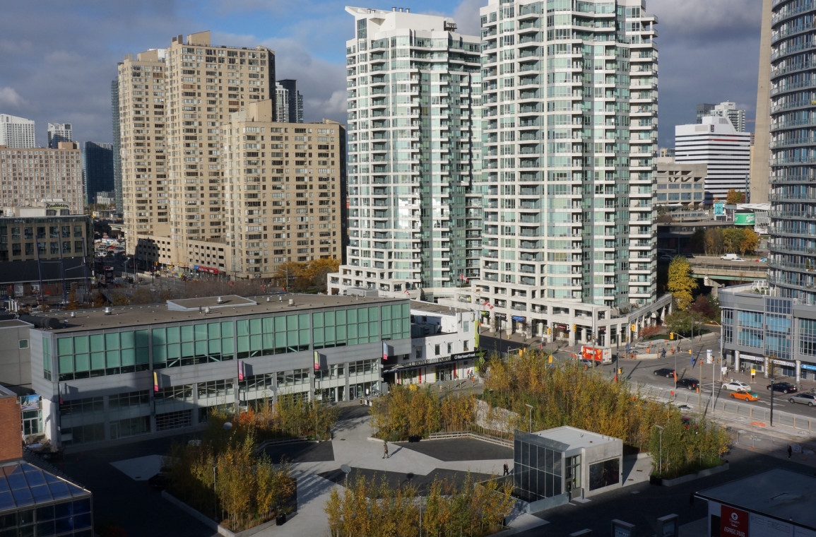 View from west side suites to Canada Square and Harbourfront Centre